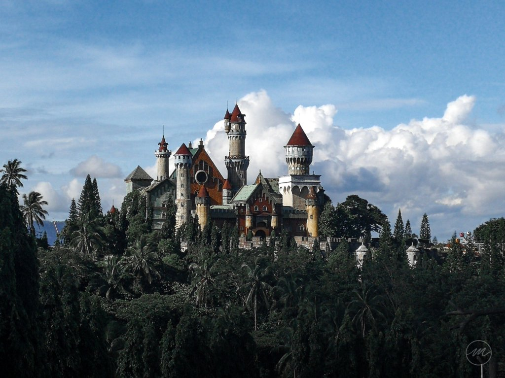 a castle-themed amusement park located on top of mountains